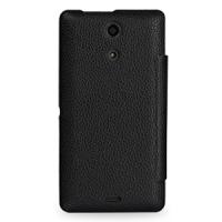 Кожаный чехол горизонтальный флип (нат. кожа) для Sony Xperia ZR Черный