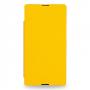 Кожаный чехол книжка горизонтальная (нат. кожа) для Sony Xperia Z Ultra желтая