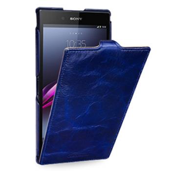 Кожаный эксклюзивный чехол ручной работы (цельная телячья кожа) для Sony Xperia Z Ultra синий