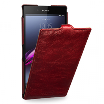 Кожаный эксклюзивный чехол ручной работы (цельная телячья кожа) для Sony Xperia Z Ultra красный