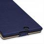 Кожаный чехол книжка вертикальная (нат. кожа) для Sony Xperia Z Ultra синяя