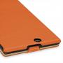 Кожаный чехол книжка вертикальная (нат. кожа) для Sony Xperia Z Ultra оранжевая