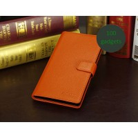 Кожаный чехол портмоне (нат. кожа) для Sony Xperia Z Ultra Оранжевый
