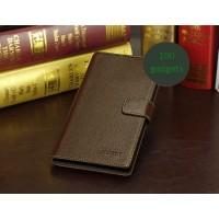 Кожаный чехол портмоне (нат. кожа) для Sony Xperia Z Ultra Коричневый