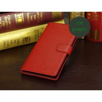 Кожаный чехол портмоне (нат. кожа) для Sony Xperia Z Ultra Красный