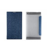 Текстурный чехол флип подставка сегментарный на пластиковой полупрозрачной основе для Lenovo Tab 2 A7-30 Синий