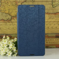 Текстурный чехол флип подставка сегментарный на пластиковой полупрозрачной основе для Acer Iconia Talk S Синий