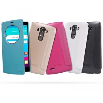 Текстурный чехол смарт флип на пластиковой основе с окном вызова для LG G4 Stylus