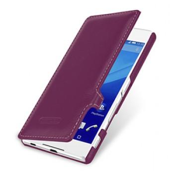 Кожаный чехол горизонтальная книжка (нат. кожа) с защелкой для Sony Xperia Z3+