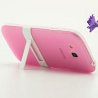Двухкомпонентный силиконовый чехол с пластиковым каркасом-подставкой для Samsung Galaxy Grand Розовый