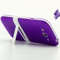 Двухкомпонентный силиконовый чехол с пластиковым каркасом-подставкой для Samsung Galaxy Grand Фиолетовый