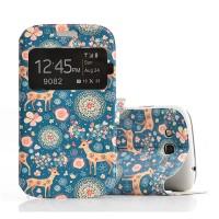 Чехол смарт флип подставка текстурный с окном вызова для Samsung Galaxy Grand