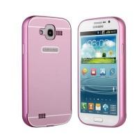 Двухкомпонентный чехол металлический бампер и поликарбонатная накладка с отверстием для лого для Samsung Galaxy Grand Розовый