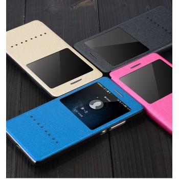 Текстурный чехол смарт флип на пластиковой основе с окном вызова и свайп полосой для Huawei P8 Lite