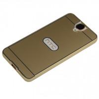Двухкомпонентный чехол с металлическим бампером и поликарбонатной накладкой с отверстием для лого для HTC One E9+ Бежевый