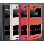 Чехол флип подставка на пластиковой основе с окном вызова и свайпом для HTC One E9+
