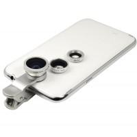 Набор внешних линз из 3 шт (Макросъемка, fish eye, широкоугольная съемка) на клипсе для Sony Xperia E4g (dual, E2053, E2006, E2003, E2043, E2033)