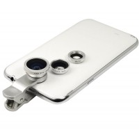 Набор внешних линз из 3 шт (Макросъемка, fish eye, широкоугольная съемка) на клипсе для Huawei P9 Lite