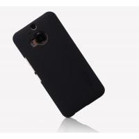 Пластиковый матовый нескользящий премиум чехол для HTC One M9+ Черный