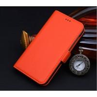 Кожаный чехол портмоне подставка (нат. кожа) для HTC One M9+ Оранжевый