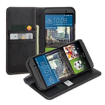 Кожаный чехол портмоне подставка (нат. кожа) для HTC One M9