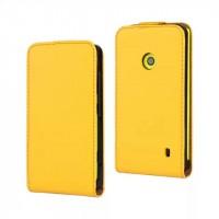Чехол вертикальная книжка на пластиковой основе с магнитной застежкой для Nokia Lumia 520 Желтый
