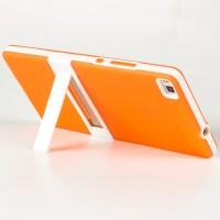 Двухкомпонентный силиконовый чехол с пластиковым каркасом-подставкой для Huawei P8 Оранжевый