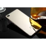 Двухкомпонентный чехол с металлическим бампером и поликарбонатной зеркальной накладкой для Huawei P8