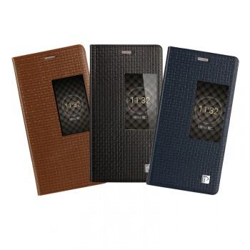 Кожаный чехол флип подставка с окном вызова (нат. кожа) для Huawei P8
