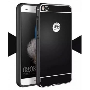 Двухкомпонентный чехол с металлическим бампером и поликарбонатной накладкой с отверстием для лого для Huawei P8