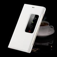 Чехол смарт флип подставка с окном вызова на пластиковой основе для Huawei P8 Белый