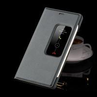 Чехол смарт флип подставка с окном вызова на пластиковой основе для Huawei P8 Серый