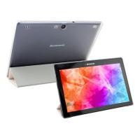 Чехол флип подставка сегментарный на пластиковой полупрозрачной основе для Lenovo Tab 2 A10-70/Tab 3 10 Business Белый