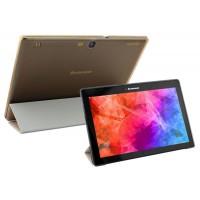 Чехол флип подставка сегментарный на пластиковой полупрозрачной основе для Lenovo Tab 2 A10-70/Tab 3 10 Business Бежевый