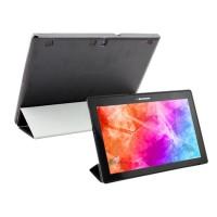 Чехол флип подставка сегментарный на пластиковой полупрозрачной основе для Lenovo Tab 2 A10-70/Tab 3 10 Business Черный