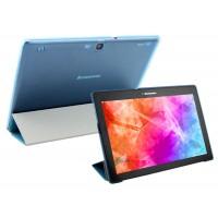 Чехол флип подставка сегментарный на пластиковой полупрозрачной основе для Lenovo Tab 2 A10-70/Tab 3 10 Business Синий