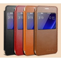 Кожаный чехол флип подставка на пластиковой основе с окном вызова для Samsung Galaxy S6