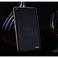 Двухкомпонентный гибридный чехол с металлическим бампером и кожаной накладкой (нат. кожа) для Huawei MediaPad X2 Черный