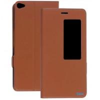 Кожаный чехол смарт флип подставка с окном вызова для Huawei MediaPad X2 Коричневый