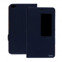Кожаный чехол смарт флип подставка с окном вызова для Huawei MediaPad X2 Синий
