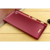 Пластиковый матовый металлик чехол для Sony Xperia T3 Красный