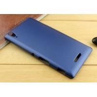 Пластиковый матовый металлик чехол для Sony Xperia T3 Синий