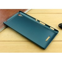 Пластиковый матовый металлик чехол для Sony Xperia T3 Зеленый