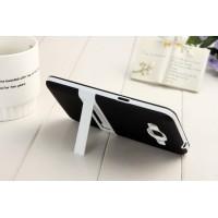 Двухкомпонентный силиконовый чехол с пластиковым каркасом-подставкой для Samsung Galaxy Grand Prime Черный