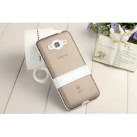 Двухкомпонентный силиконовый чехол с пластиковым каркасом-подставкой для Samsung Galaxy Grand Prime Серый