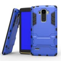 Антиударный гибридный силиконовый чехол с поликарбонатной крышкой и ножкой-подставкой для LG G4 Stylus Синий