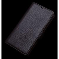 Кожаный чехол портмоне (нат. кожа крокодила) для LG G4 Stylus Коричневый