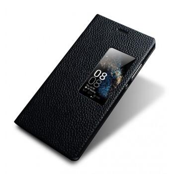 Кожаный чехол флип подставка (нат. кожа) с окном вызова для Huawei P8