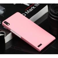 Пластиковый тонкий чехол для Huawei Ascend P6 Розовый