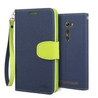 Текстурный чехол портмоне подставка с магнитной защелкой и ремешком для Asus Zenfone 2 5 Синий
